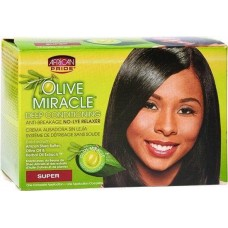 African Pride Olive Miracle Deep Conditioning Anti Breakage Relaxer Kit super.