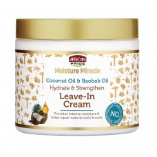 African Pride Moisture Miracle Coconut Oil & Baobab Oil Leave-In Cream - Provides Intense Moisture & Helps Repair Natural Coils & Curls, Hydrates & Strengthens Hair, 15 oz